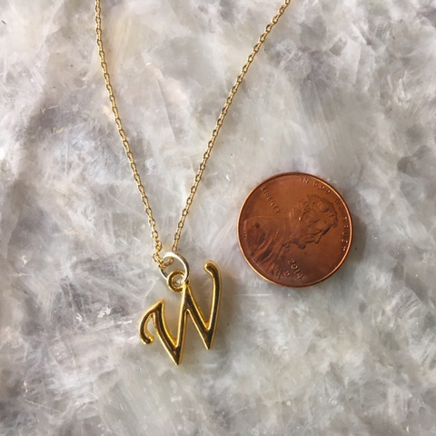 The Wonderful W Charm Necklace in Gold